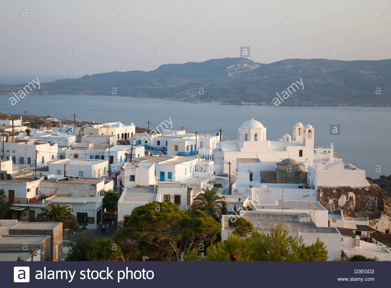 plaka village,milos island,cyclades islands,greece - Stock Image