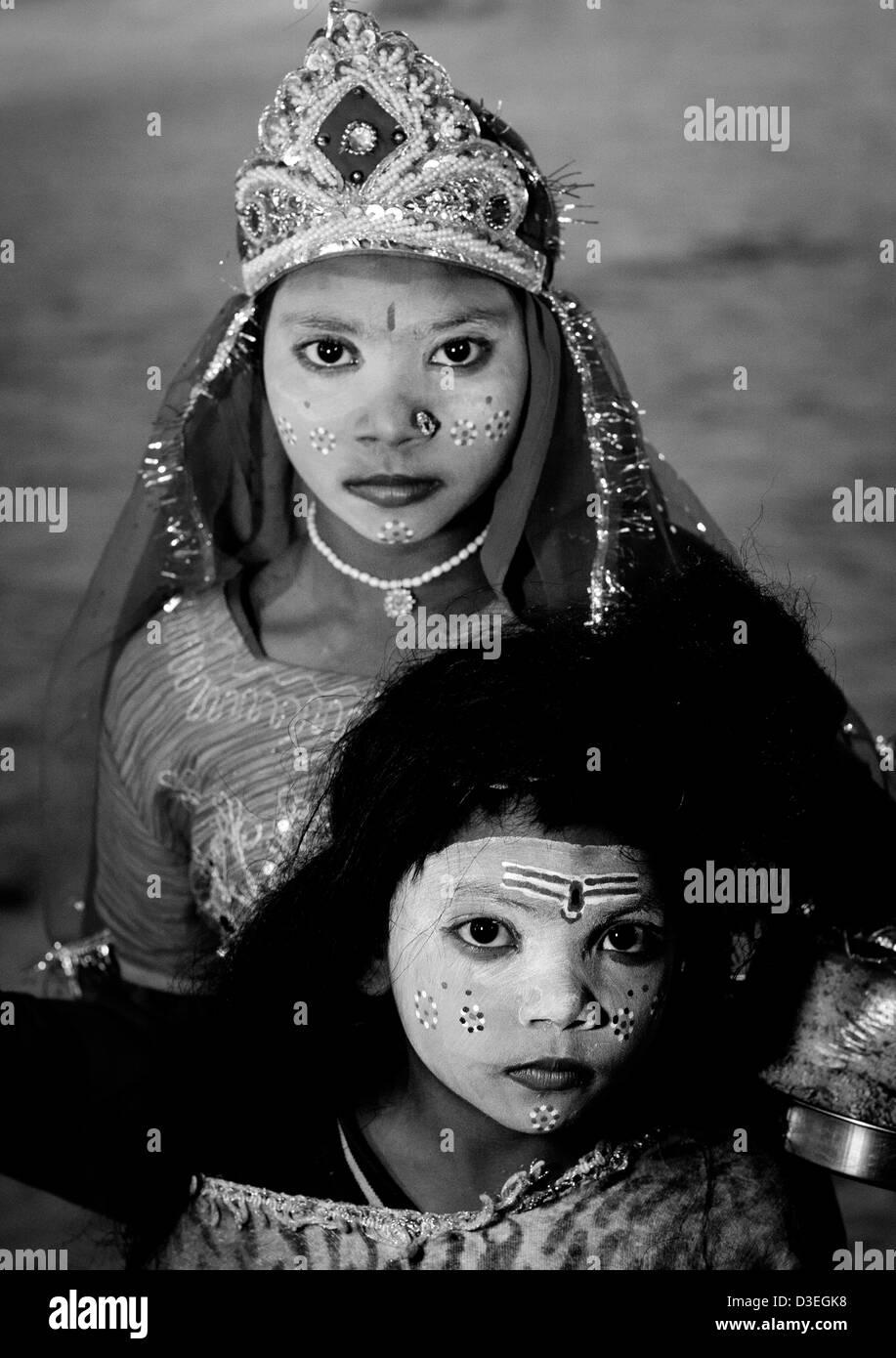 Young Girls With Shiva Make Up, Maha Kumbh Mela, Allahabad, India - Stock Image