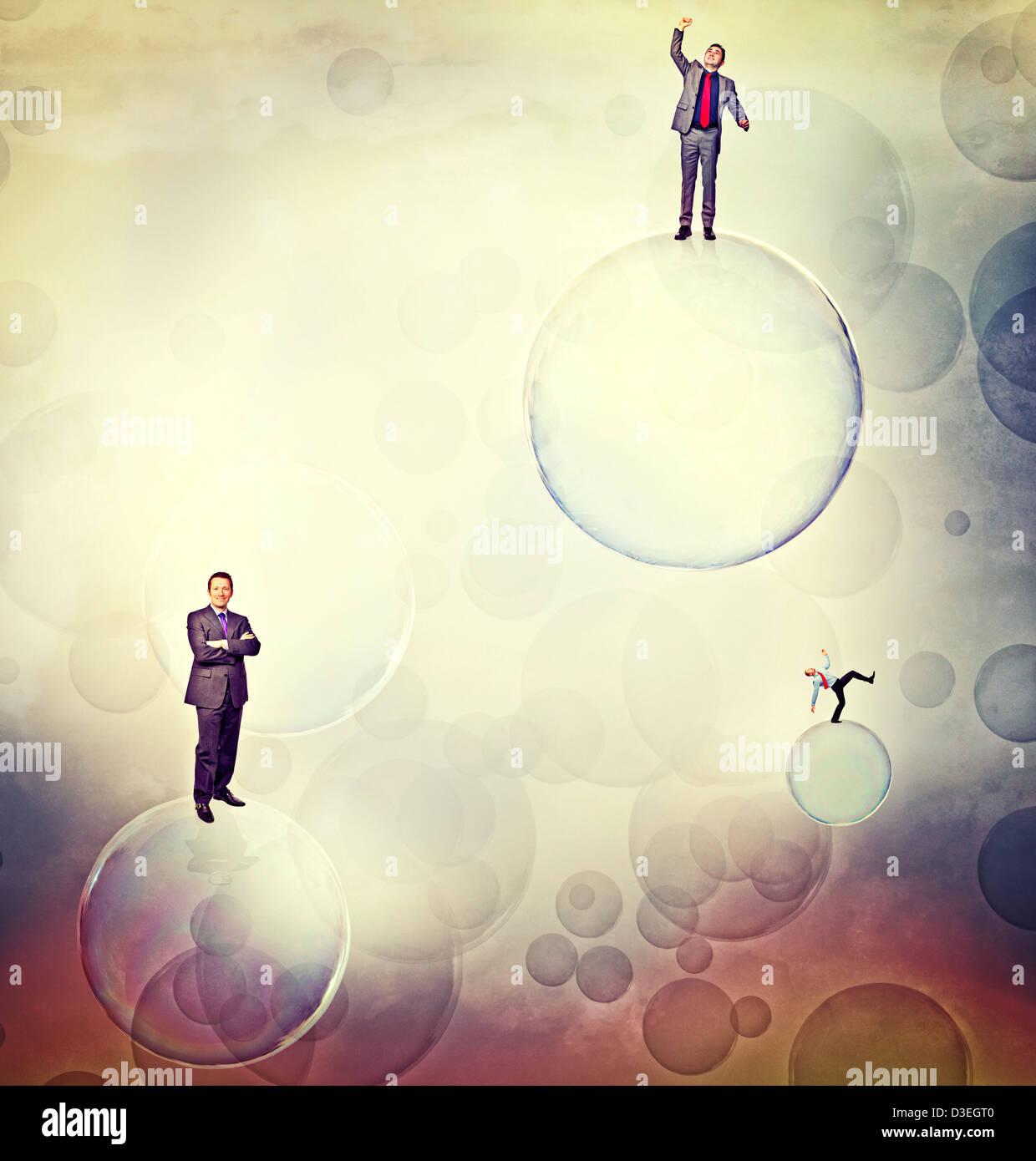 business men on soap 3d bubbles - Stock Image