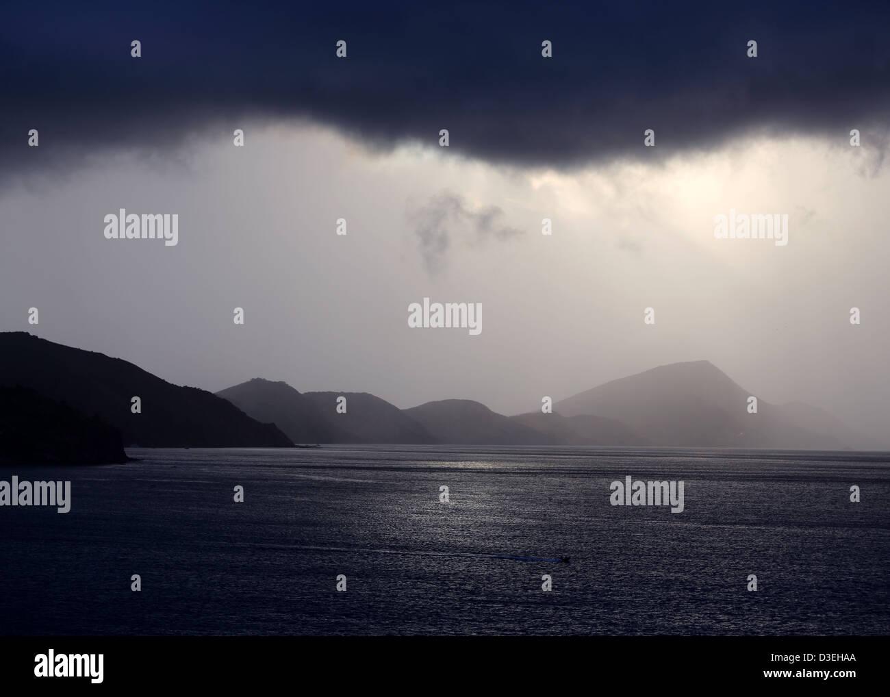 CARIBBEAN DAWN TROPICAL RAINSTORM - Stock Image