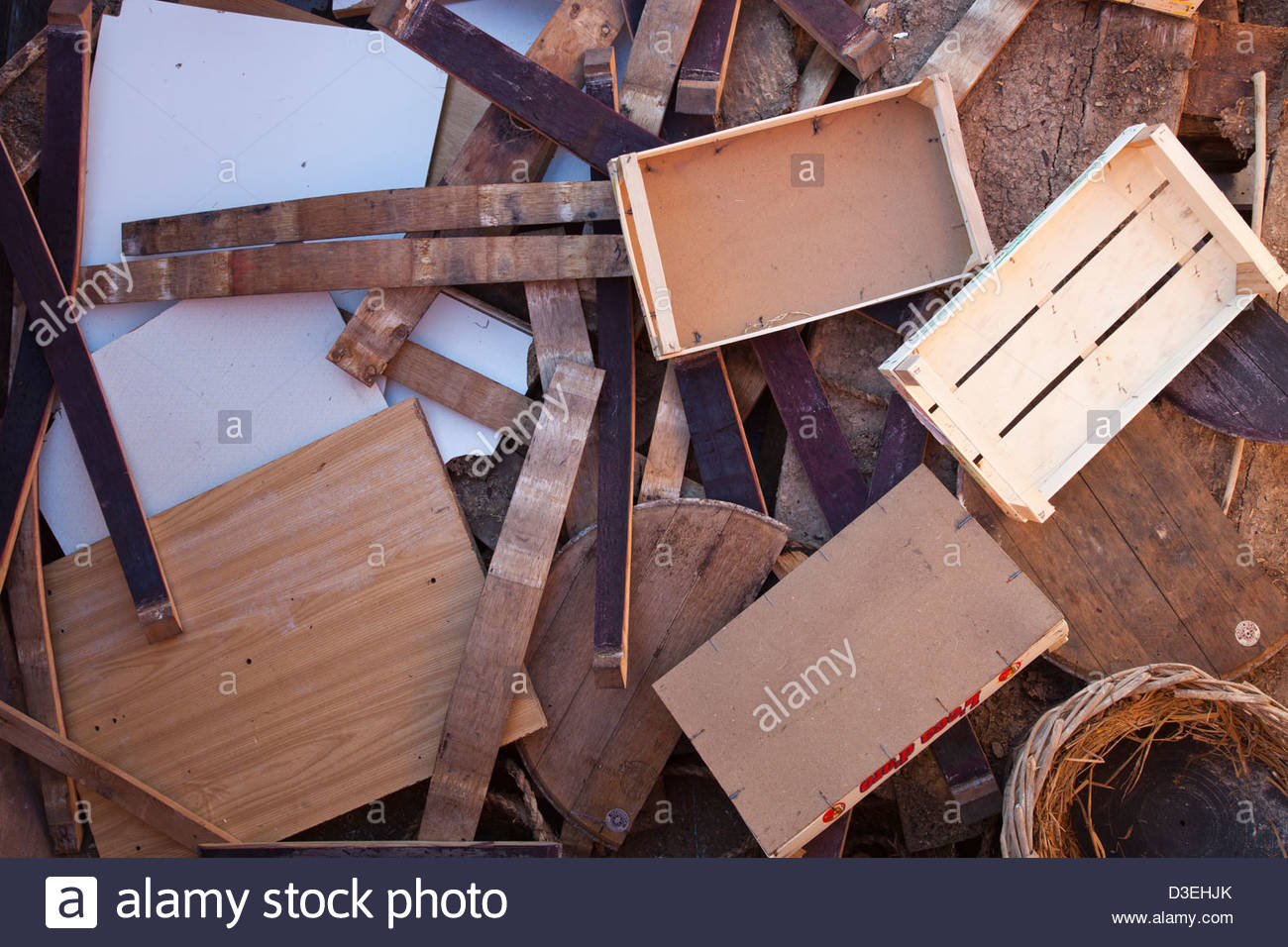 wood,separate collection of trash,landfill - Stock Image