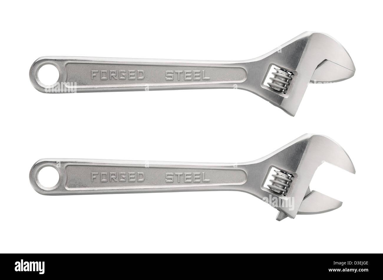 Tools: adjustable wrench, isolated on white background - Stock Image