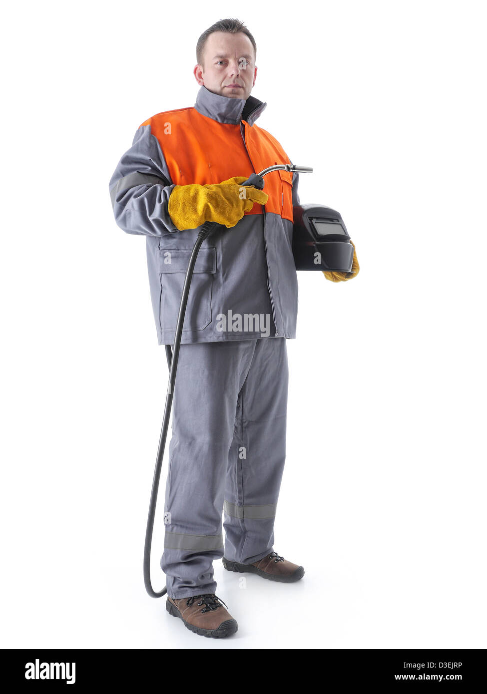 Gas Welding Gun Stock Photos Images Alamy Torch Diagram Welder Wearing Protective Suit Holding Hood And On White Image