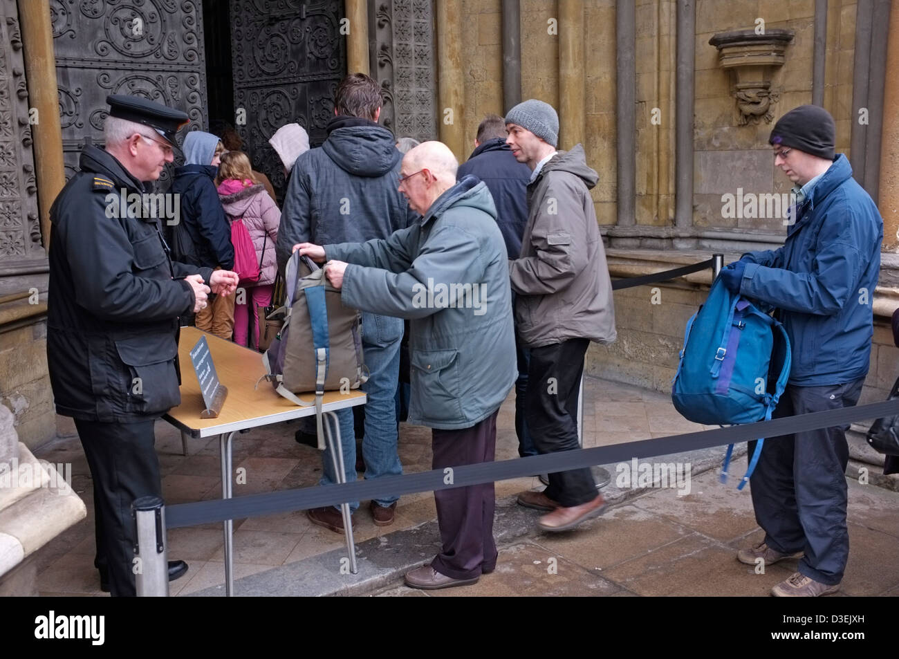 Security check bags outside Westminster Abbey in London - Stock Image