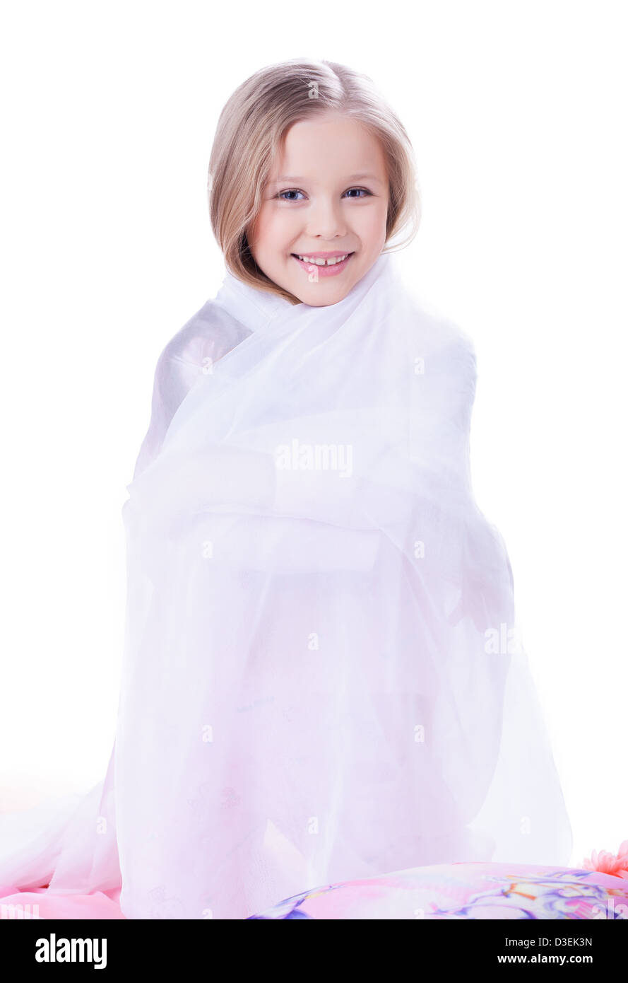 Pretty little girl with blanket - Stock Image