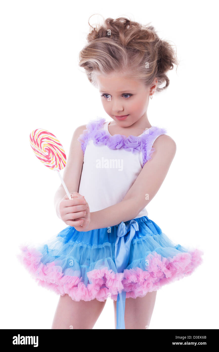 Pretty little girl with lollipop - Stock Image