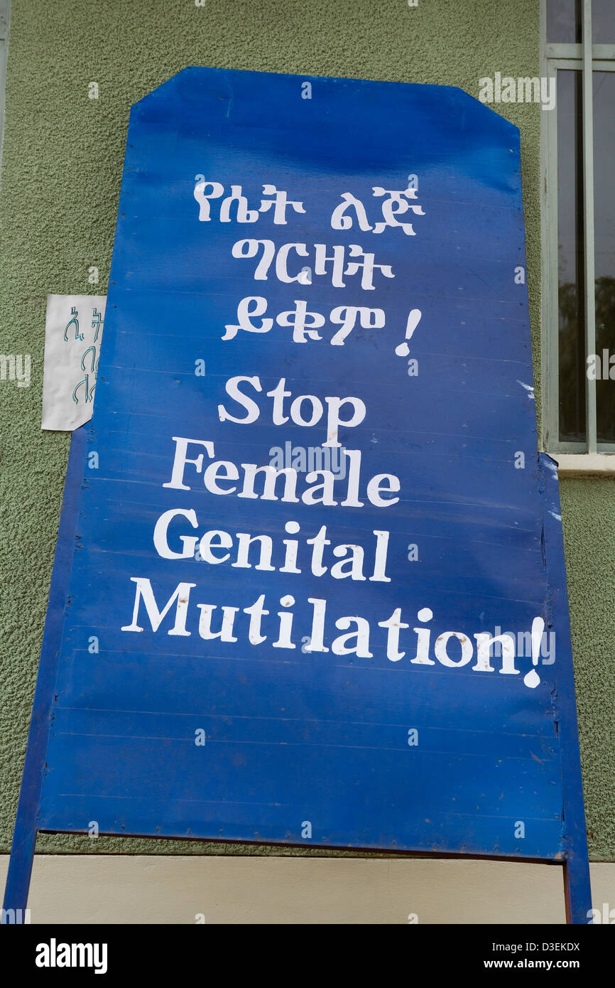 BEDESSA TOWN, WOLAYITA ZONE, SOUTHERN ETHIOPIA, 20TH AUGUST 2008: A sign which reads 'Stop Female Genital Mutilation' - Stock Image