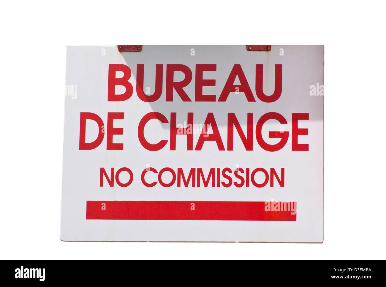 Bureau De Change No Commission Shop Sign Stock Photo Alamy