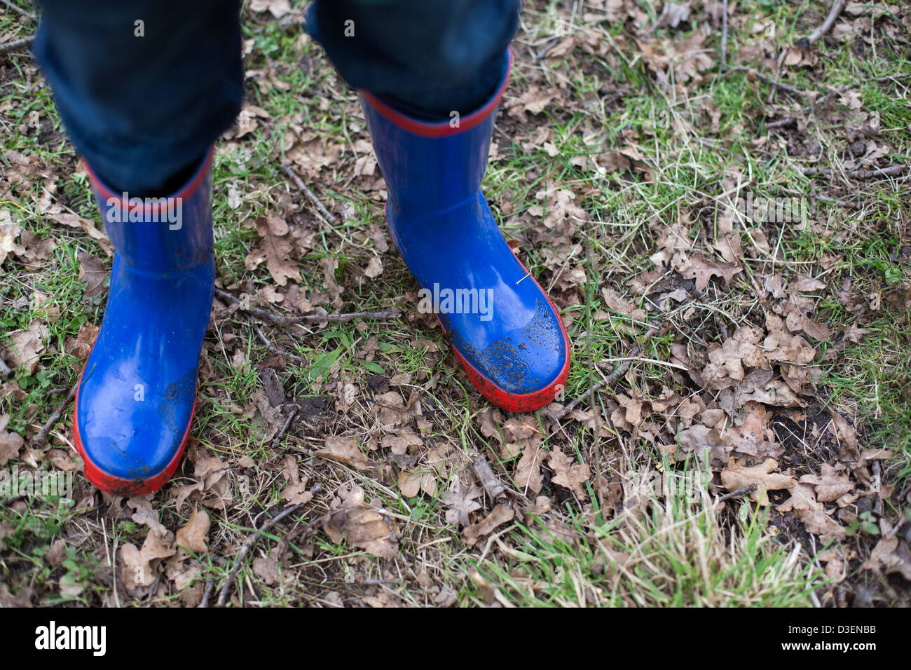 Boy wearing Welly Boots Stock Photo
