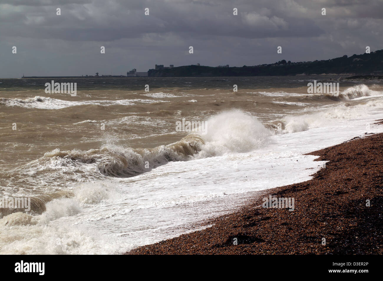 A Tempestuous Sea on a very windy day off Samphire Hoe,  looking out towards Folkestone, Kent. - Stock Image