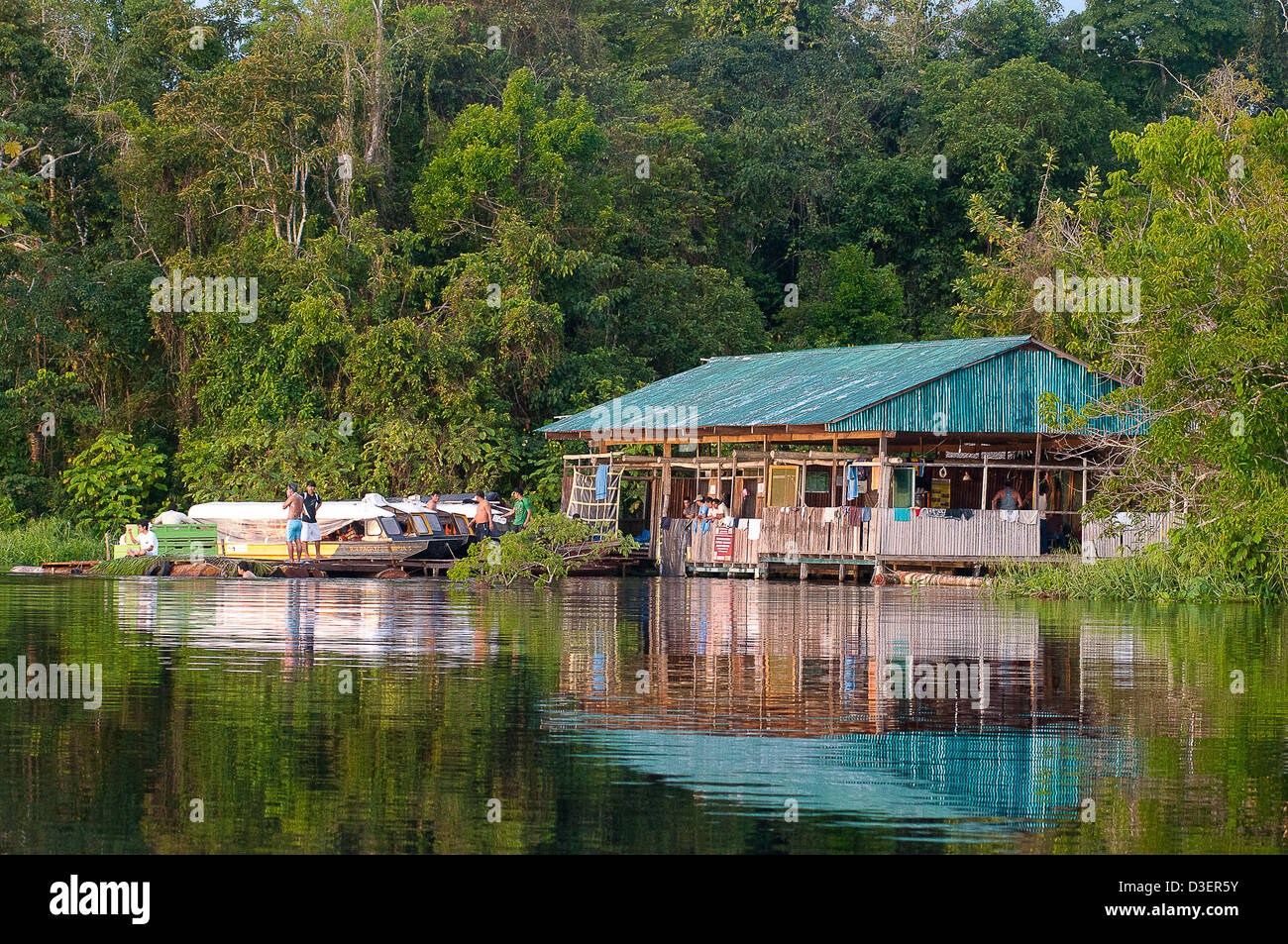Peru, Loreto, Iquitos, Manatee project. The Yaku Taita's house at Cocha Dorado, Pacaya Samiria national reserve - Stock Image