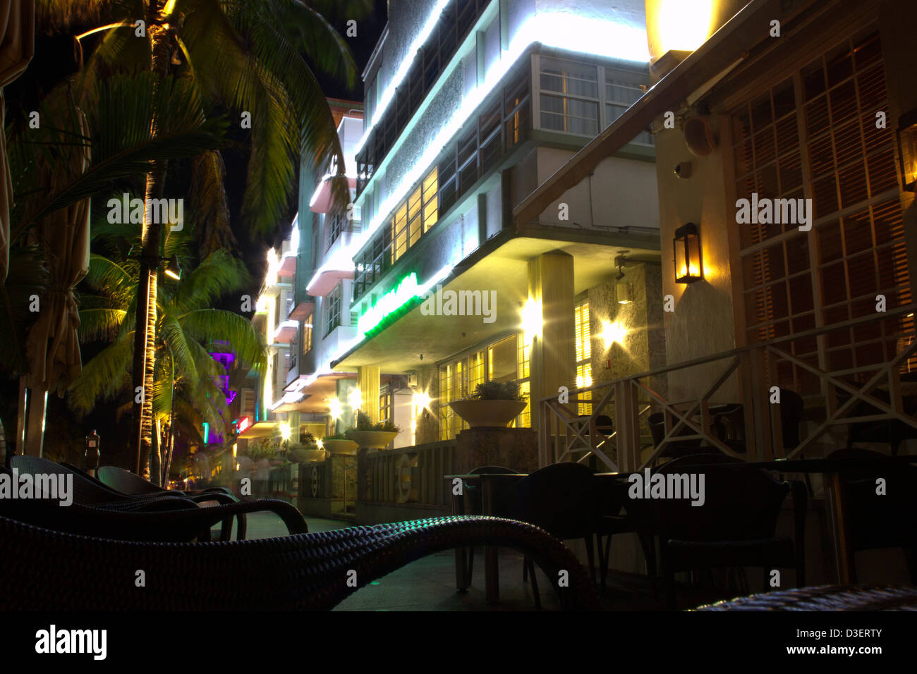 Ocean Drive at Night Stock Photo