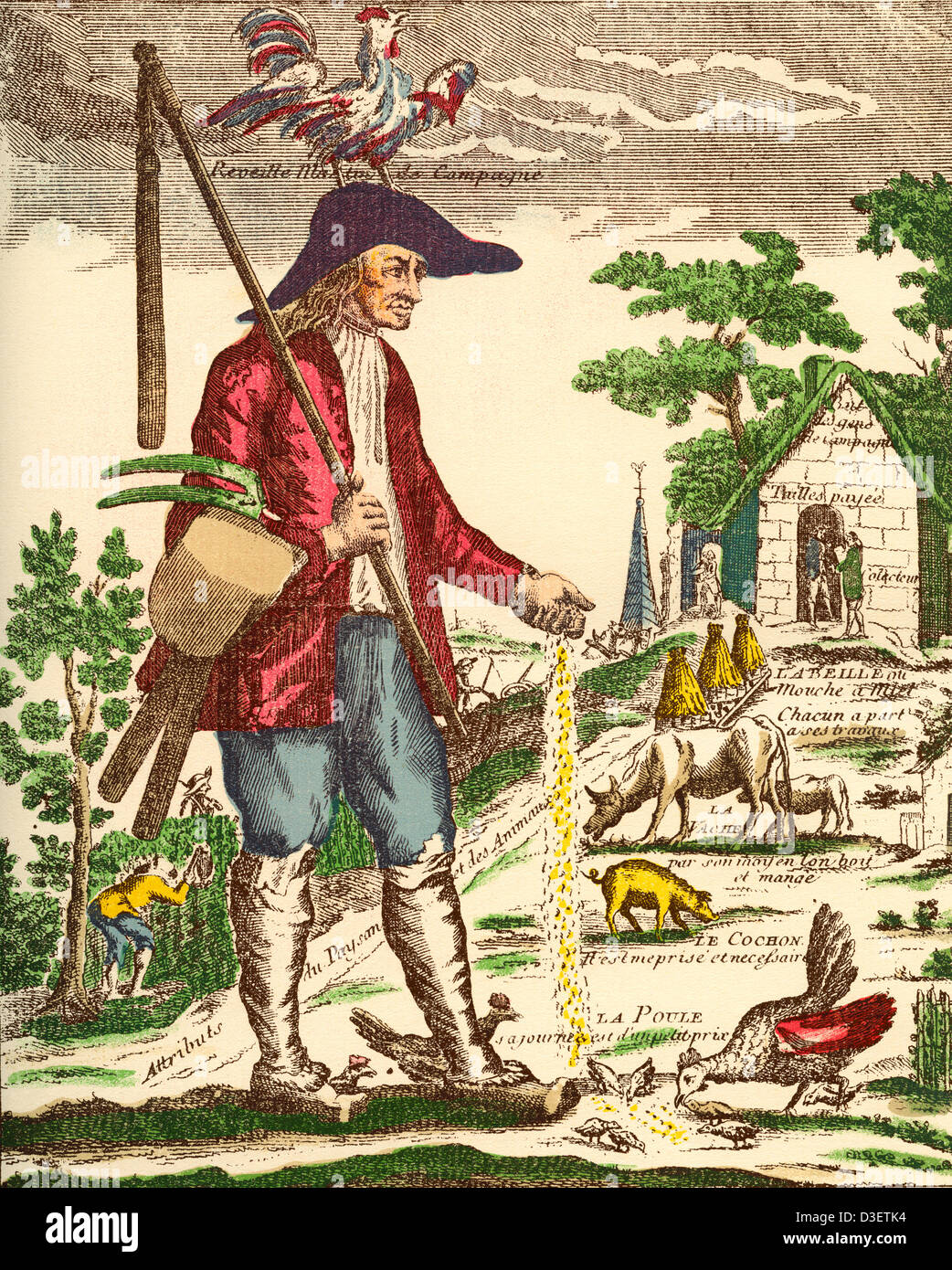 A French village peasant during the 18th century. - Stock Image