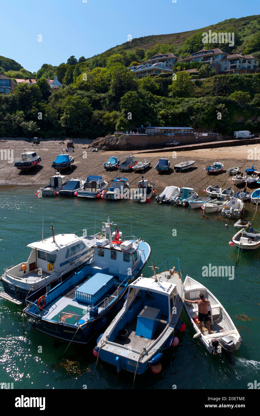 Boats in the harbour at Bonne Nuit, Jersey, Channel Islands, UK - Stock Image