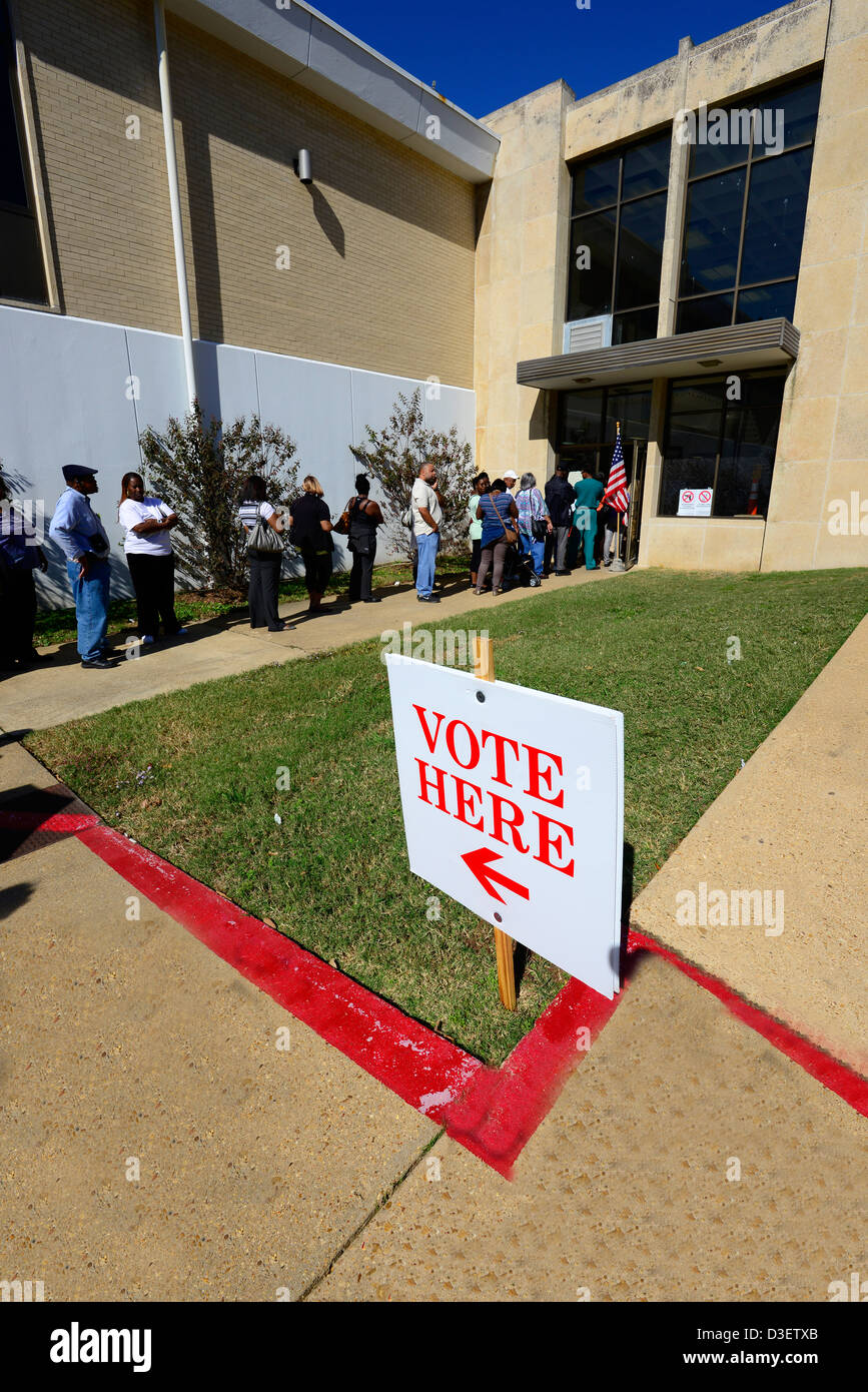 Voters In Line to Vote US Election - Stock Image