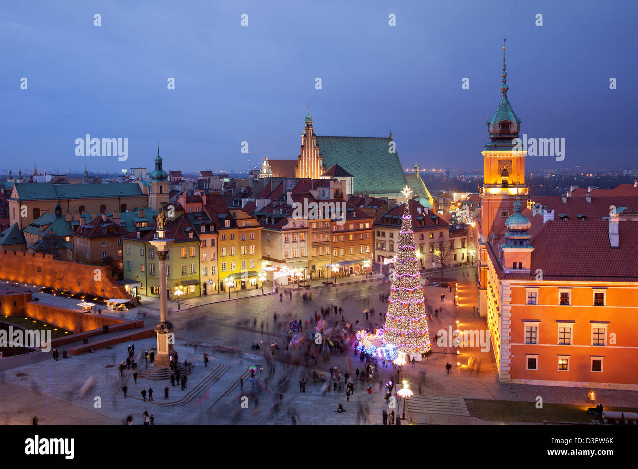 Picturesque Old Town of Warsaw in Poland illuminated at evening, during Christmas time. - Stock Image