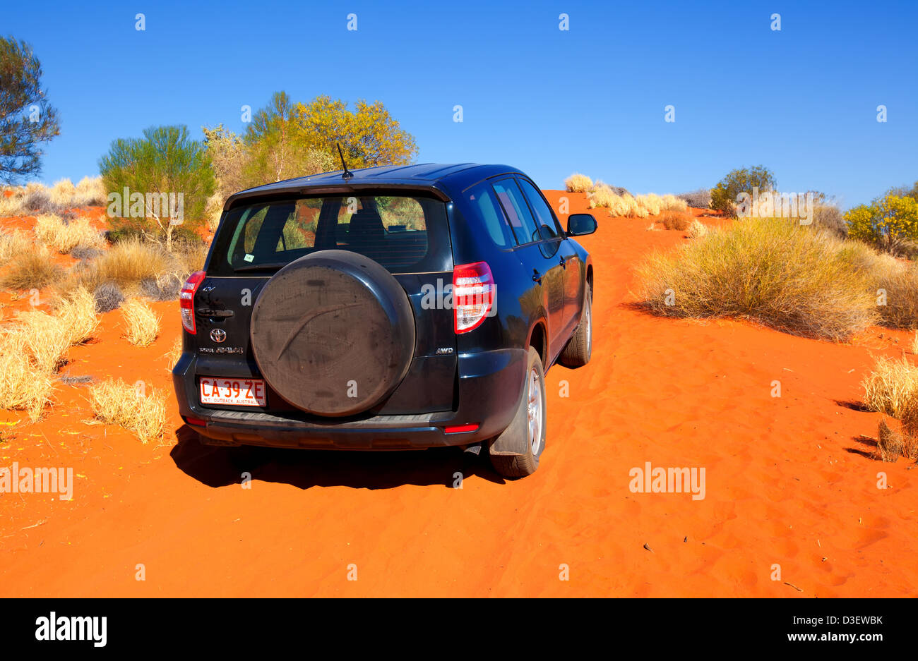 A 4WD vehicle on a sandy desert track in Central Australia Stock Photo