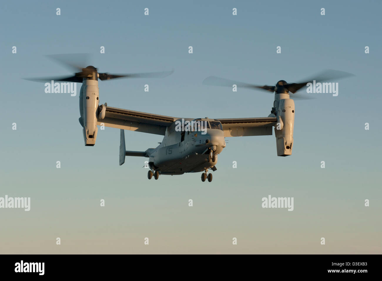 Aerial view of a Marine Corps MV-22 Osprey from the USS John C. Stennis battle group February 16, 2013 on patrol - Stock Image