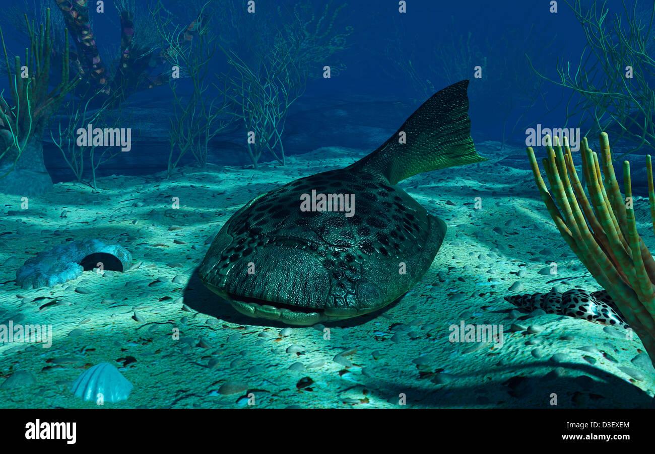 A Drepanaspis on the bottom of a shallow Devonian sea. Stock Photo