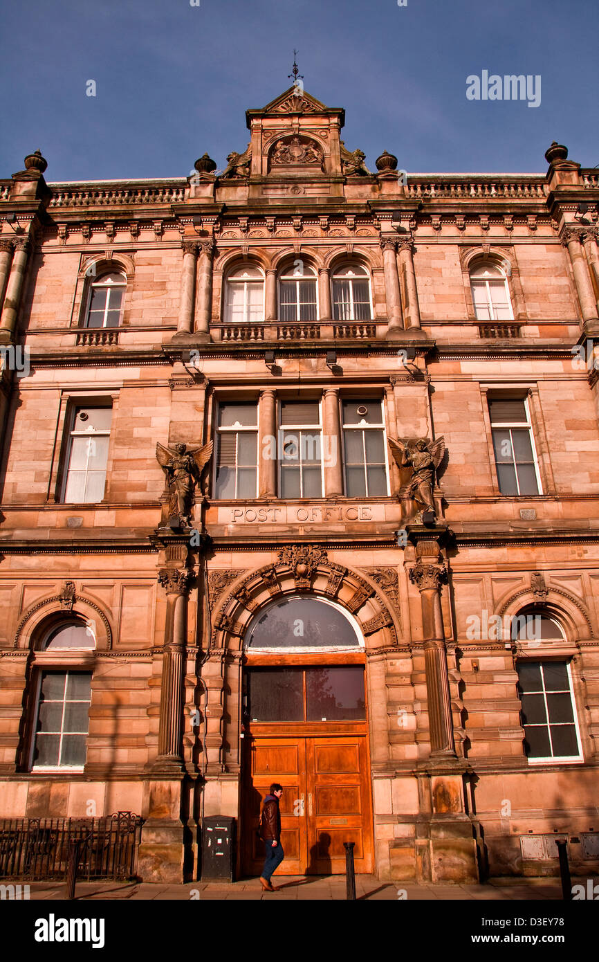 The old Gothic style19th Century Post Office Building is a Listed Building located at Meadowside in Dundee, UK Stock Photo