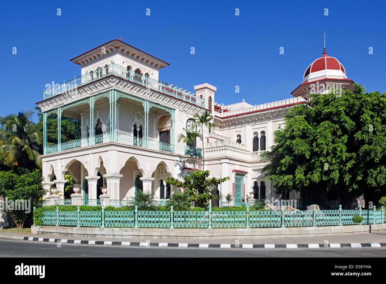 Palacio de Valle / Valle's Palace in Punta Gorda in neo-gothic style, Cienfuegos, Cuba, Caribbean - Stock Image