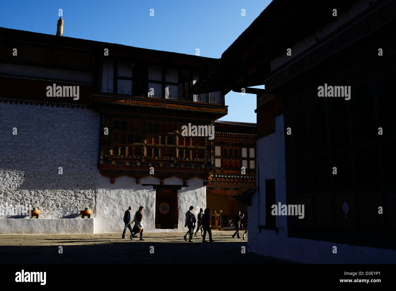 Paro Dzong,a beautiful fortress,wonderful Bhutanese style of architecture in courtyard,tourists,36MPX,HI-RES - Stock Image