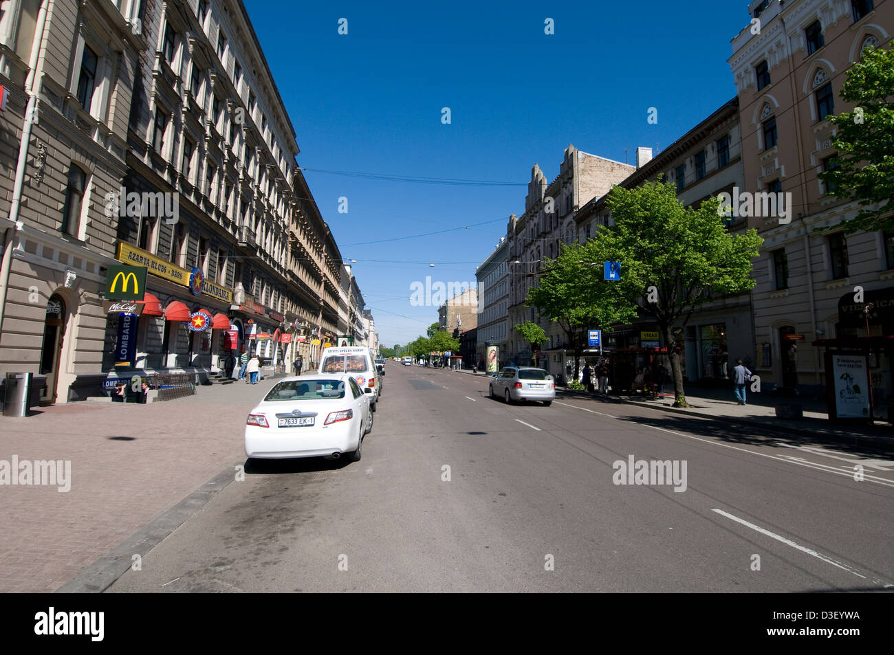 One of the main street, Merkela iela in Riga city, Latvia, Baltic States - Stock Image