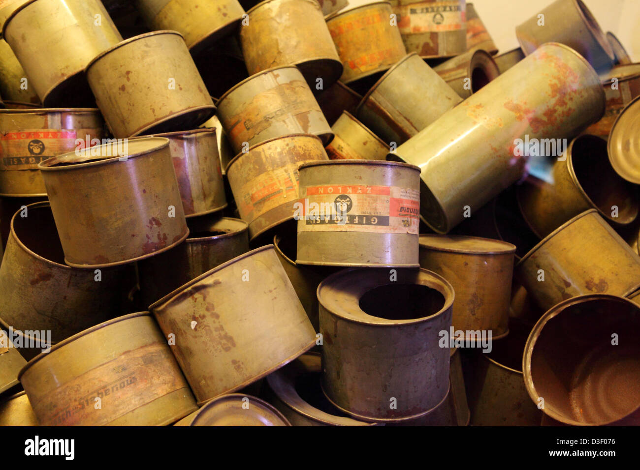 Empty cannisters of Zyclon B poison gas are displayed at Auschwitz I concentration camp. - Stock Image