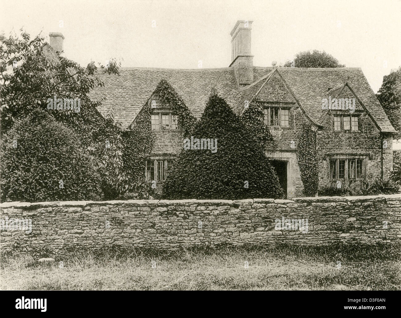 """A collotype plate entitled """" The Manor Farm, Ramsden, Oxon."""" scanned at high resolution from a book published in Stock Photo"""