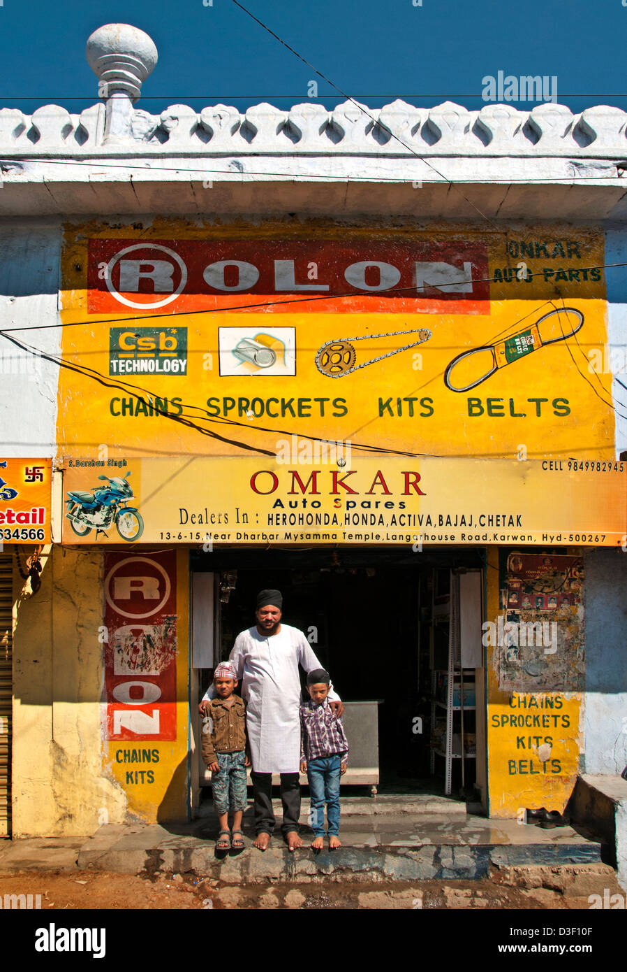Hyderabad India car machine parts belts sprockets - Stock Image