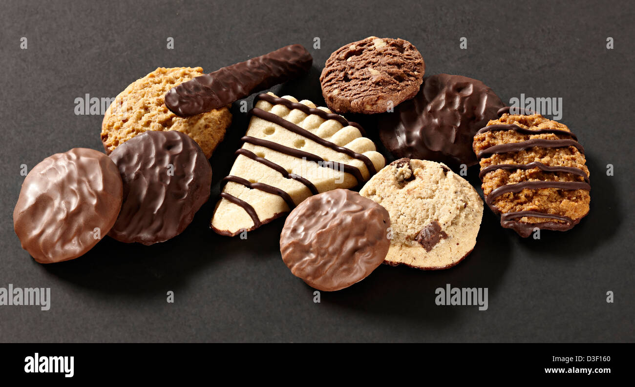 Fancy chocolate biscuit selection - Stock Image