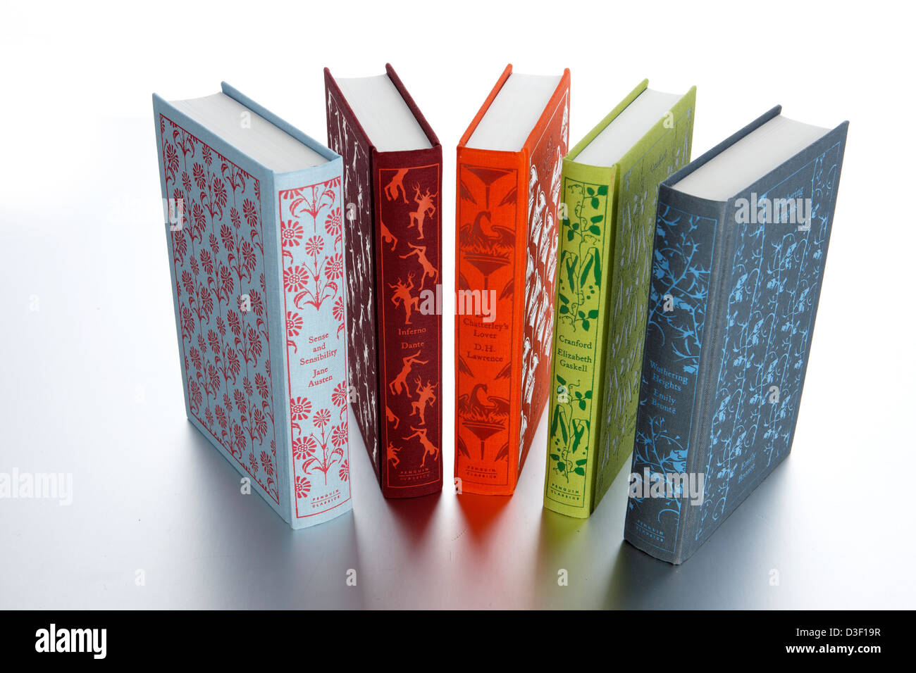 Penguin classic novels fanned spines - Stock Image