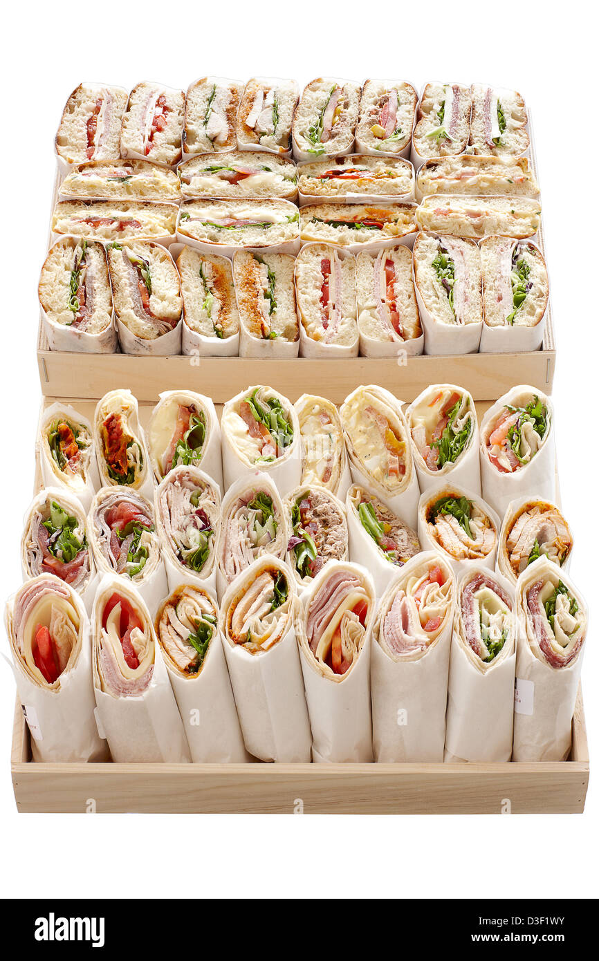 Large wrap and ciabatta sandwich selection boxes - Stock Image