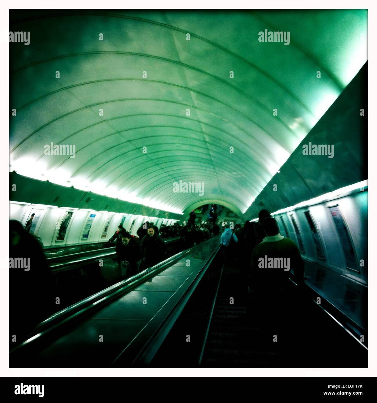 Feb. 7, 2013 - Prague, Czech Republic - Prague subway system.Prague, the capital of the Czech Republic, is. home - Stock Image