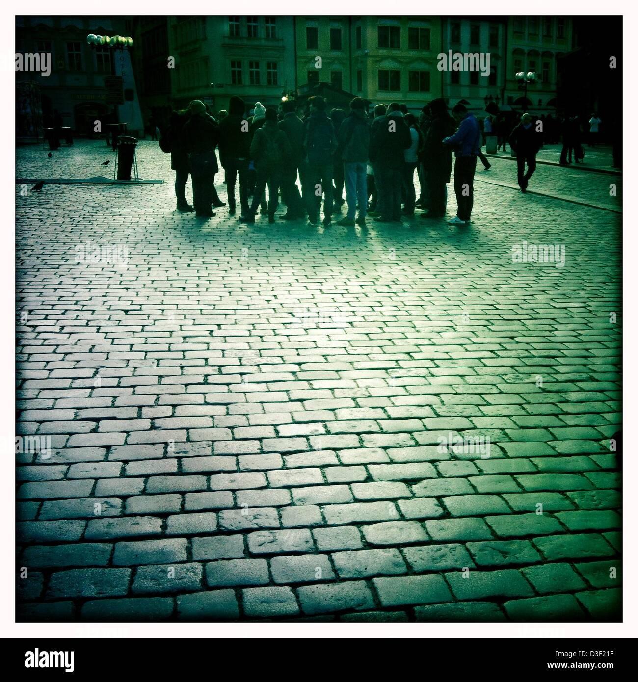 Feb. 7, 2013 - Prague, Czech Republic - Tourist on the Old Square, Prague.Prague, the capital of the Czech Republic, - Stock Image