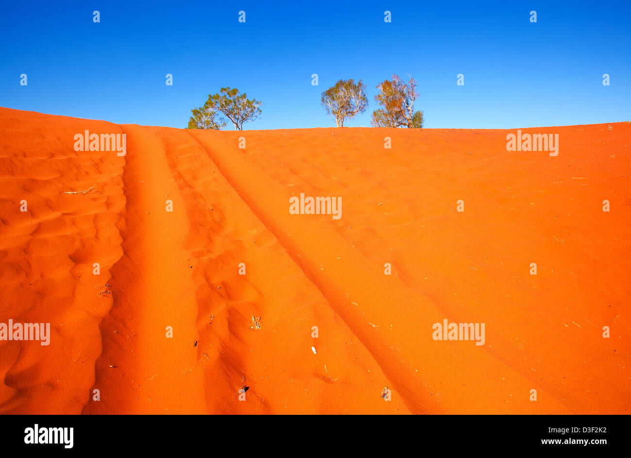 Vehicle tracks in soft red sand of Central Australian outback - Stock Image