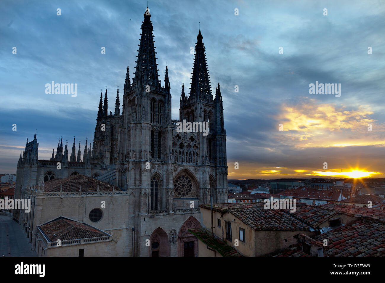 Night view of the gothic cathedral of Burgos in Spain - Stock Image