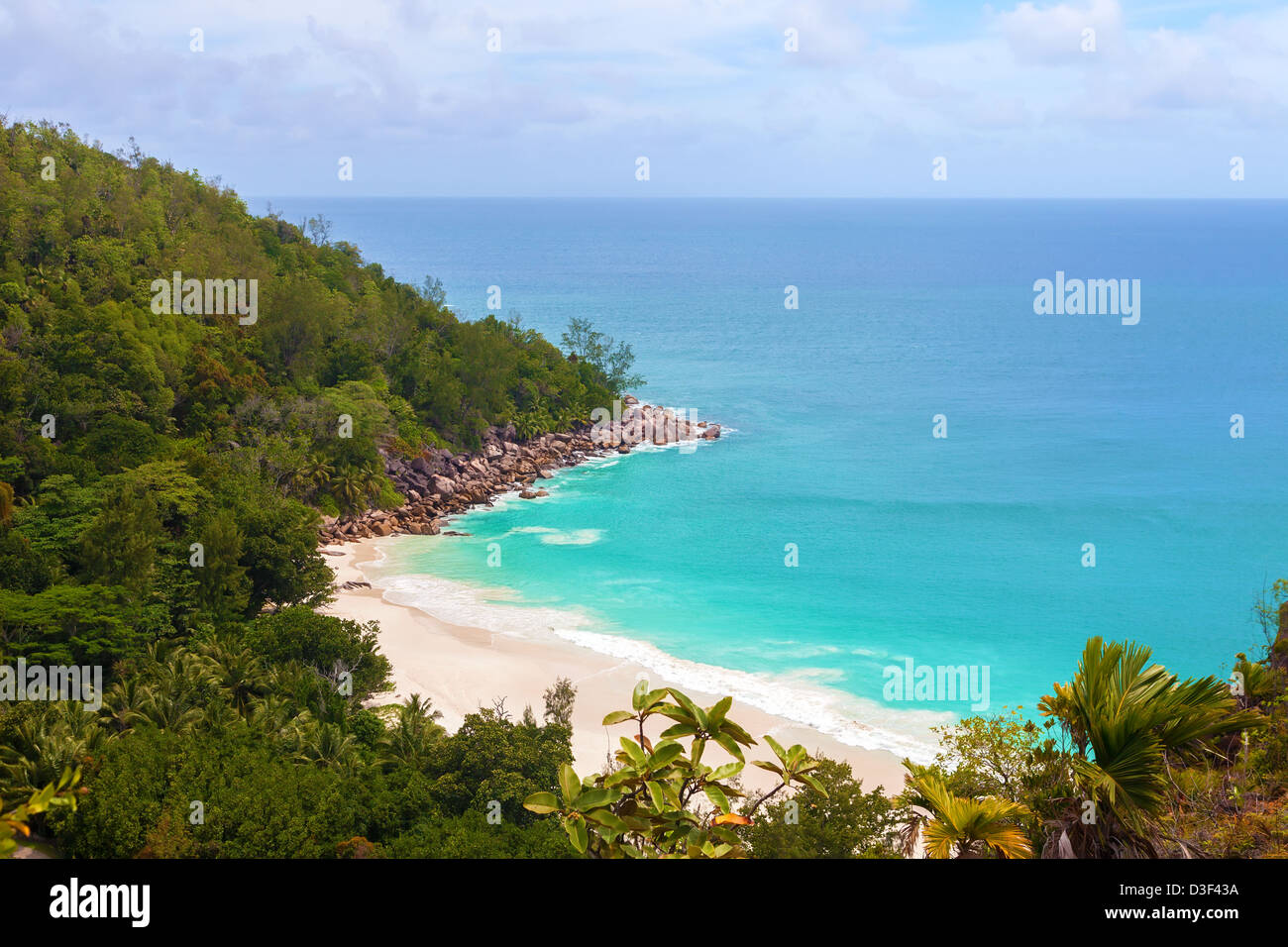Seashore of Anse Georgette beach from above, Seychelles Stock Photo