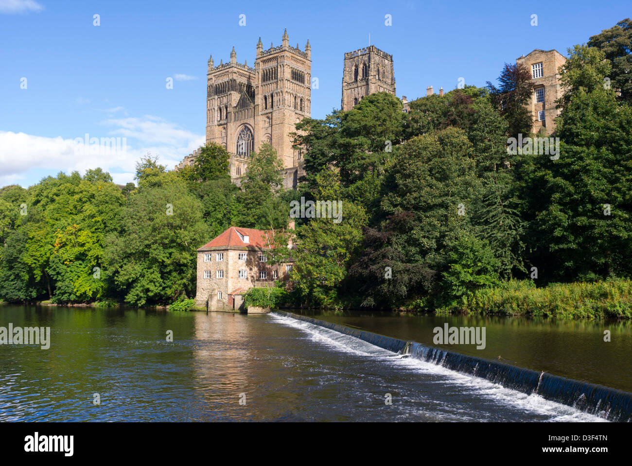 Durham Cathedral and the River Wear, Durham England - Stock Image