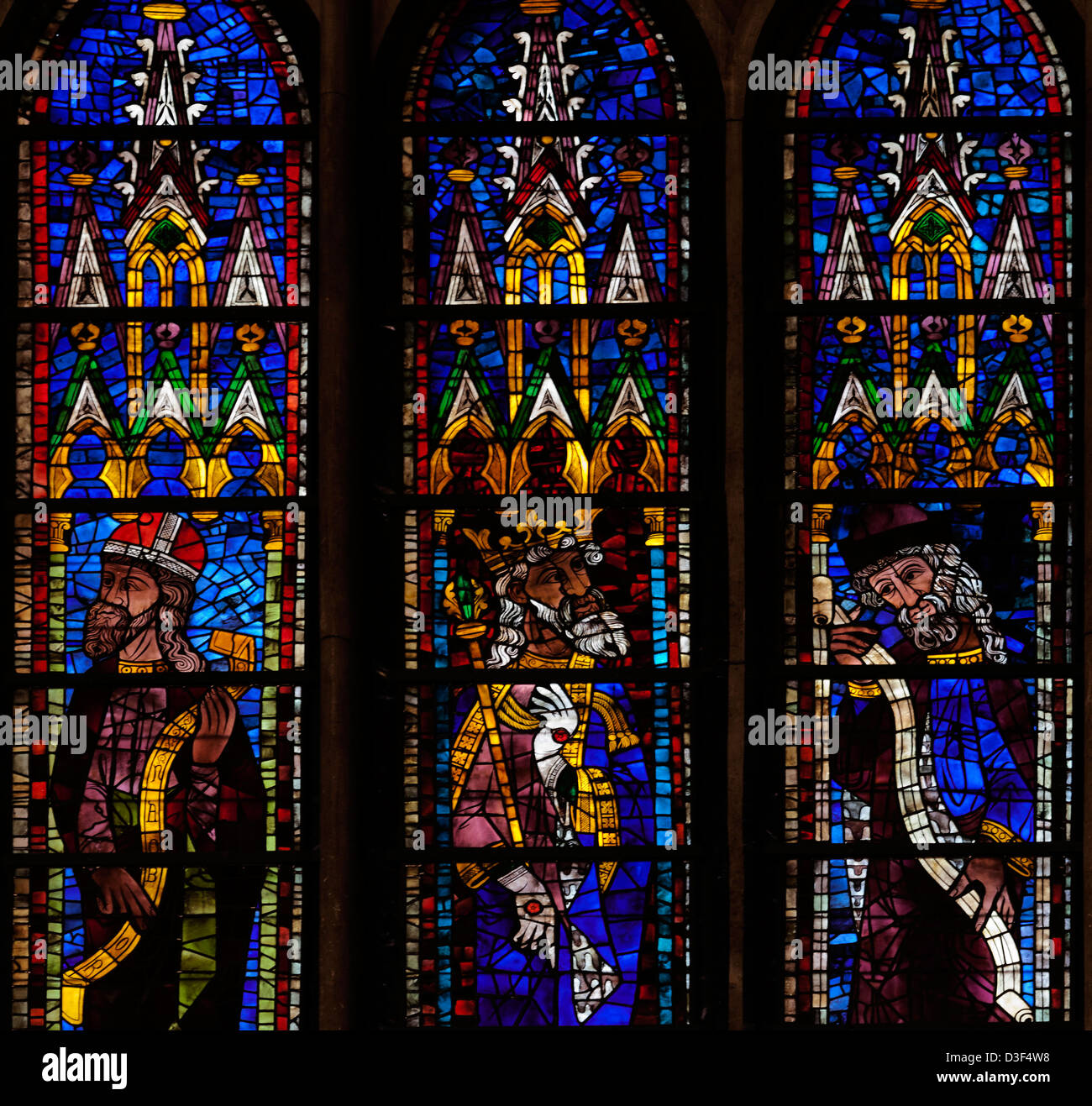 Medieval Stained Glass In The Gothic Cathedral Of Leon Province Castilla Y LeonSpain