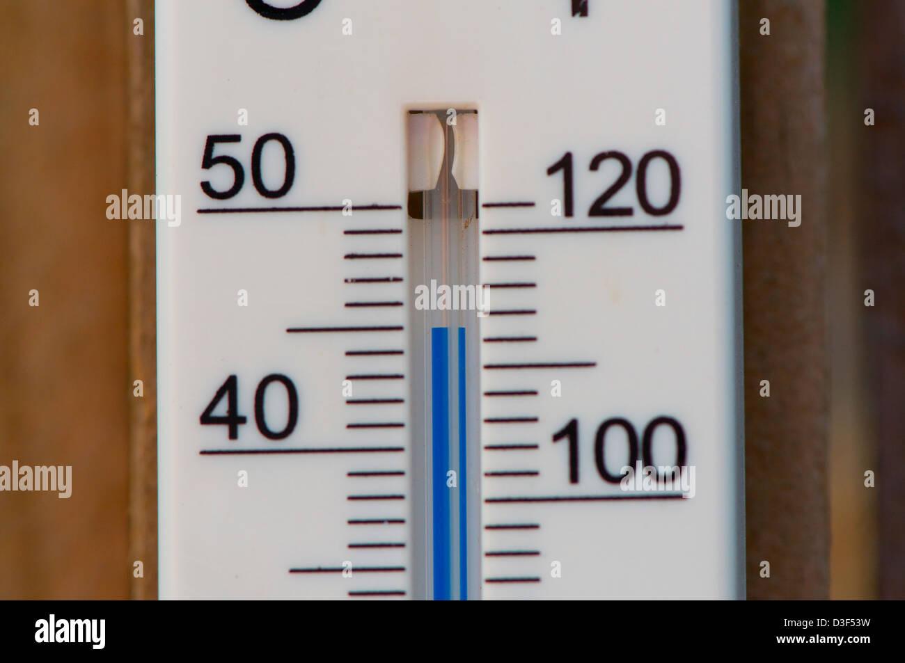 A temperature gauge showing 45c in Sydney Australia - Stock Image