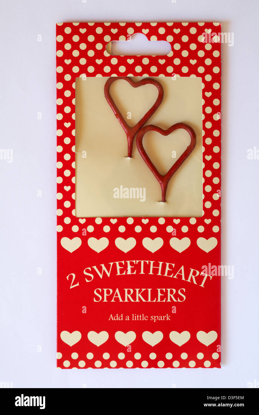 packet of 2 sweetheart sparklers to add a little spark isolated on white background - romantic touch ideal for Valentine - Stock Image