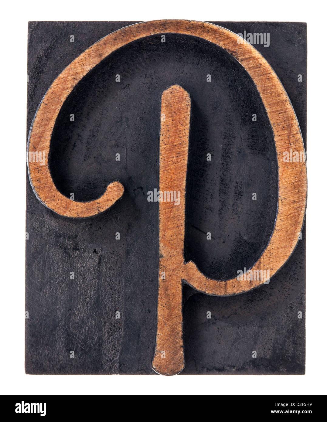 Ornamental Letter P Script Font Isolated Letterpress