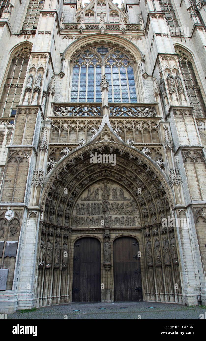 Cathedral Door, Antwerp, Belgium - Stock Image