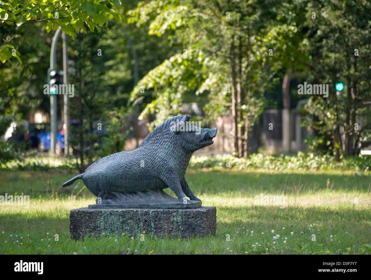 Berlin, Germany, the Wild boars by Paul Gruson in Schmargendorf - Stock Image