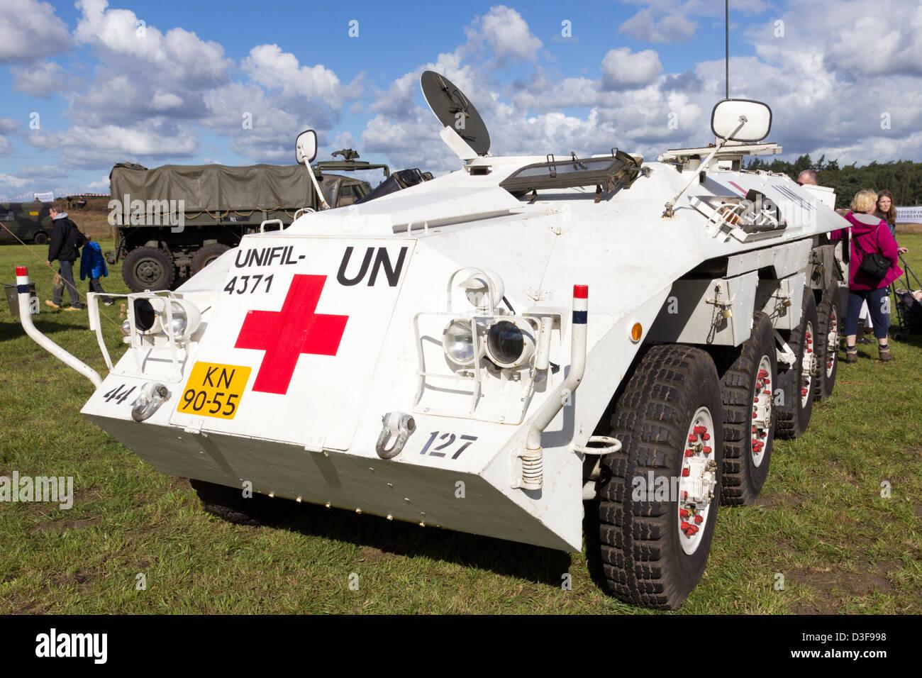 Dutch Army DAF YP-408 6x8 armored car in UN marks. - Stock Image