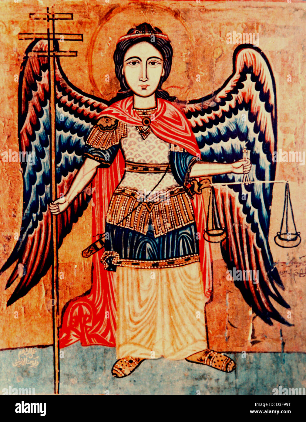 Artwork depicting the Archangel Michael holding the scales of justice - Stock Image