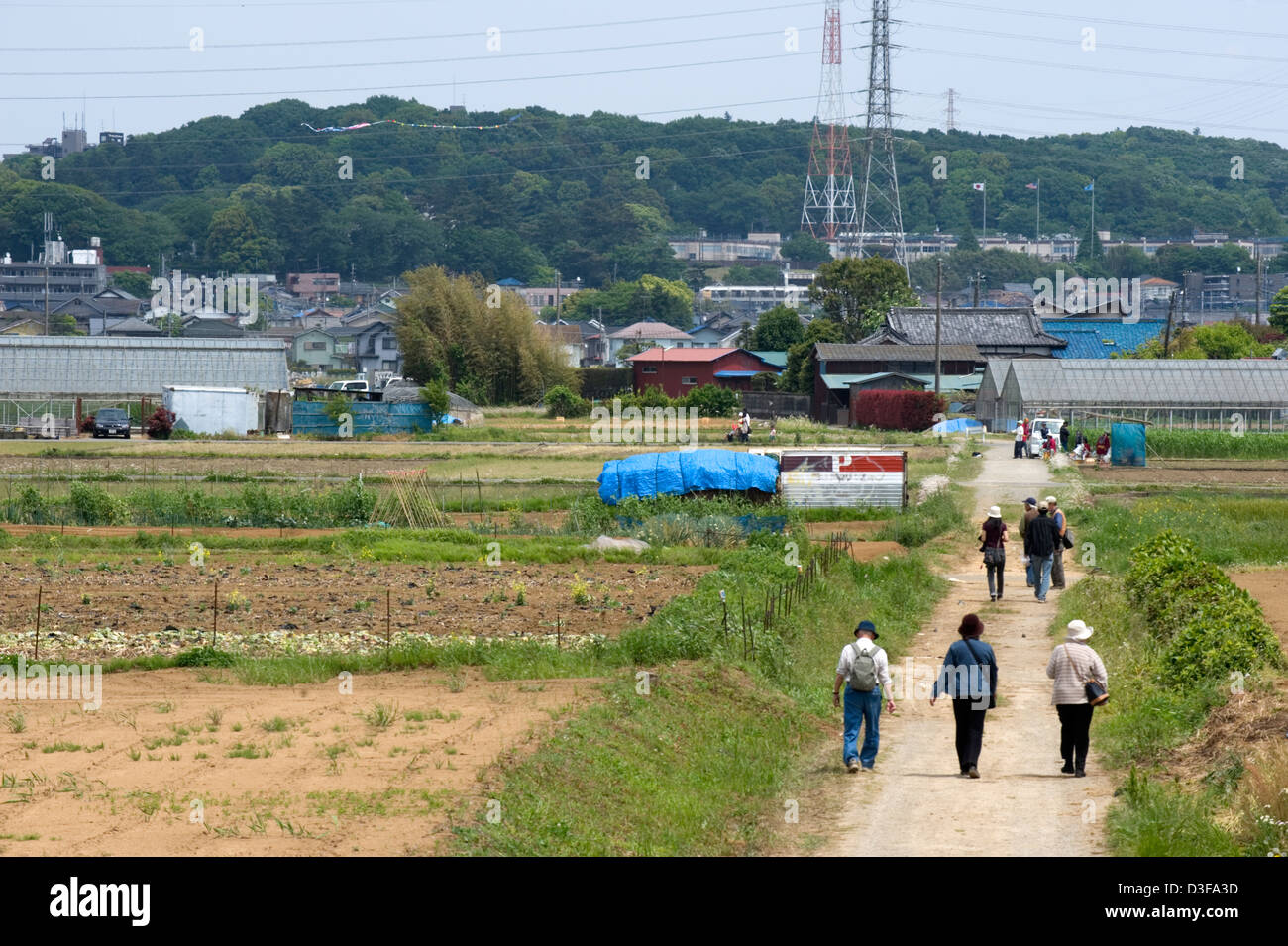 High tension power lines run across the countryside farm fields and neighborhoods of rural Kanagawa Prefecture. Stock Photo