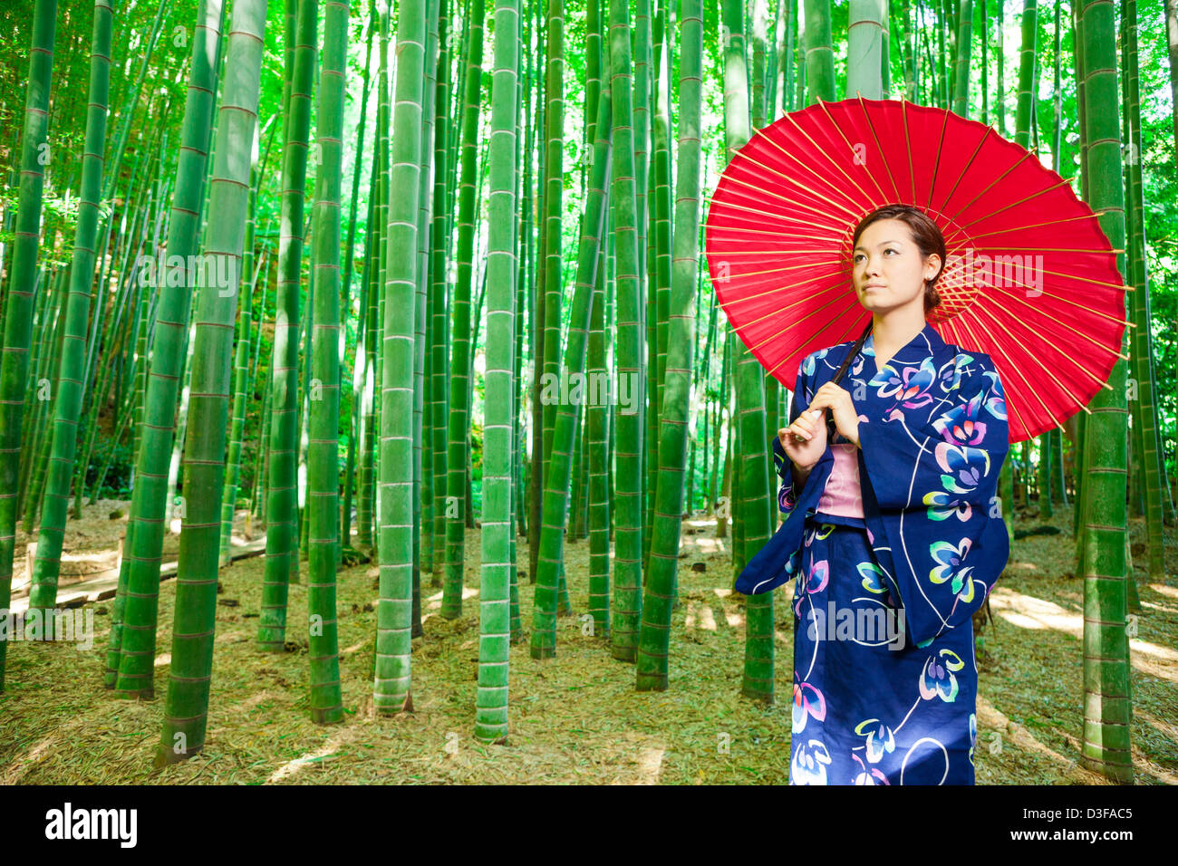 Japanese woman wearing kimono and holding red parasol stands in bamboo grove Stock Photo