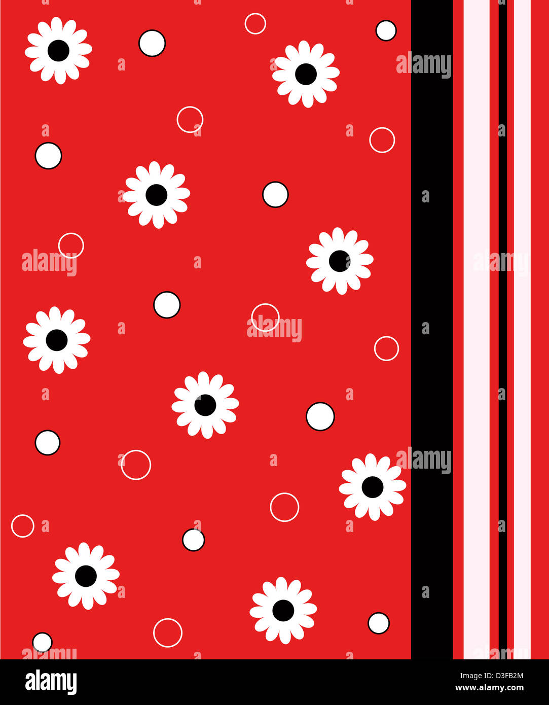 Flowers and stripes pattern Stock Photo